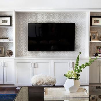 Flat Screen Tv In Built In Shelves Design Ideas