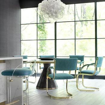Black And Gold Dining Table With Turquoise Dining Chairs