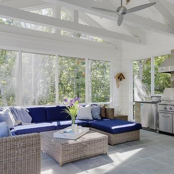 green and gray sunroom design transitional deck patio. Black Bedroom Furniture Sets. Home Design Ideas
