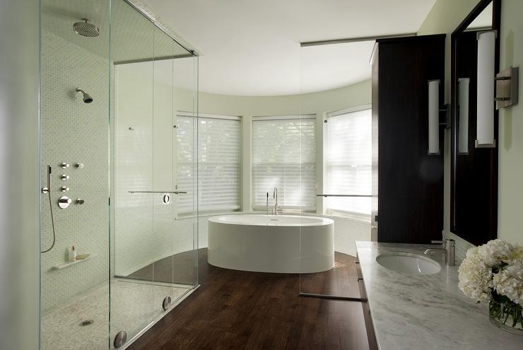 Modern Bathroom With Bow Window Tub View Full Size