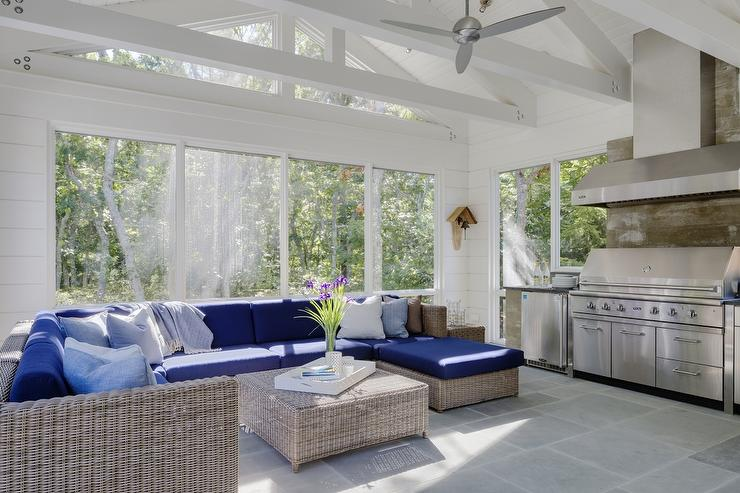 sunroom kitchen design transitional deck patio
