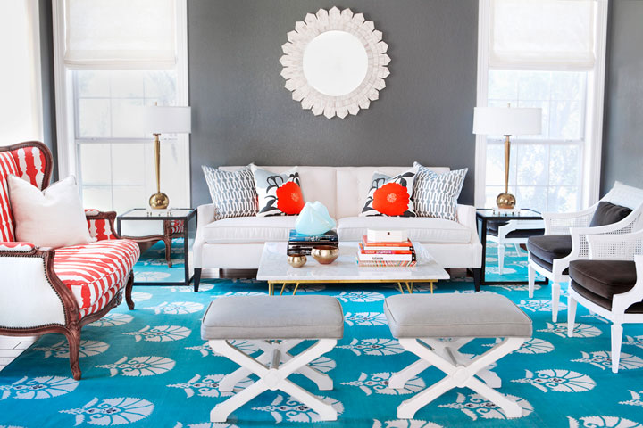 Elegant Gray And Turquoise Living Room Part 32