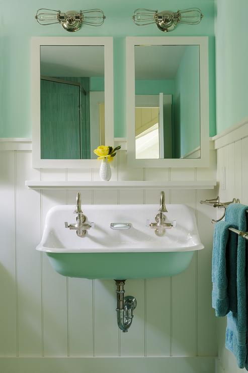 Turquoise Nautical Bathroom Cottage Bathroom