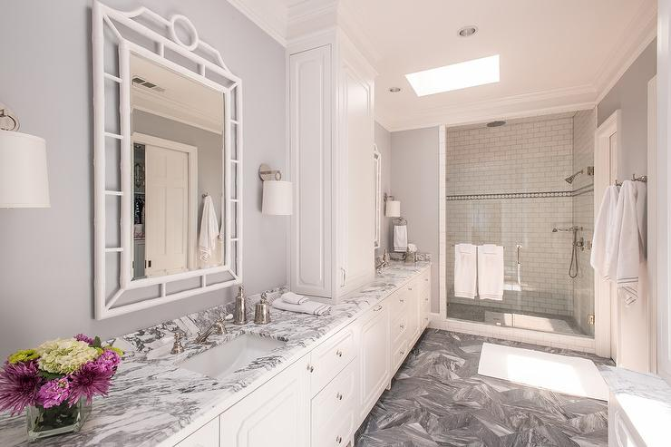 White And Grey Marble Bathroom Countertops Transitional