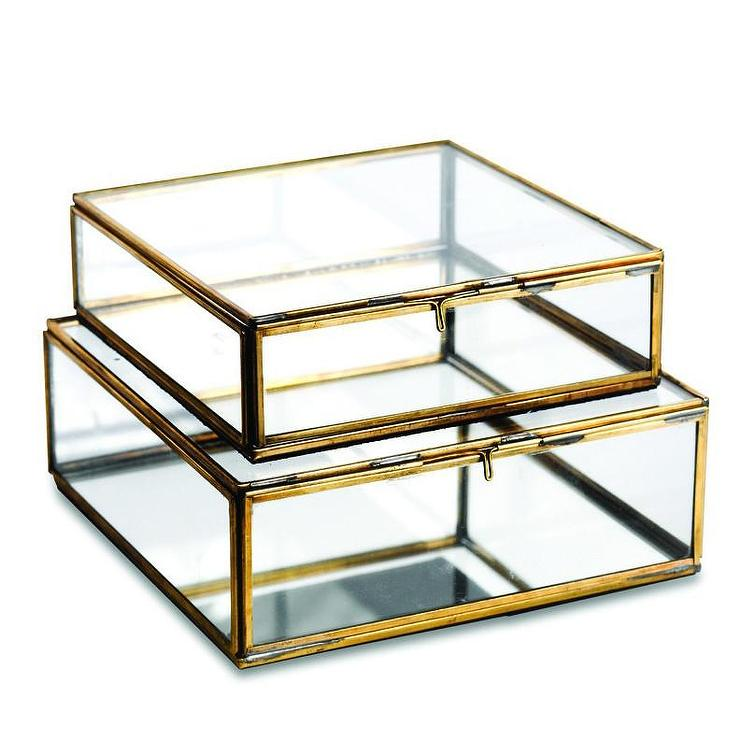 Antique Brass And Glass Boxes