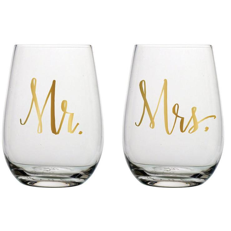 Darling Point Etched Mr And Mrs Glass Set