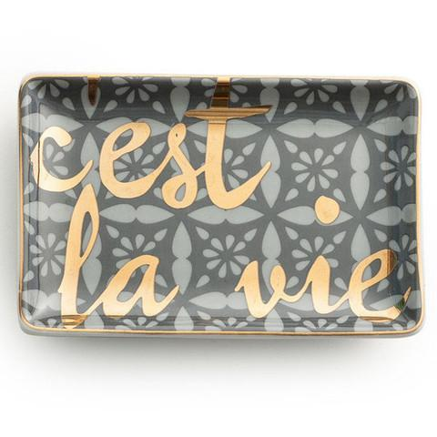 tray chic cest la vie gold tray - Decorative Tray