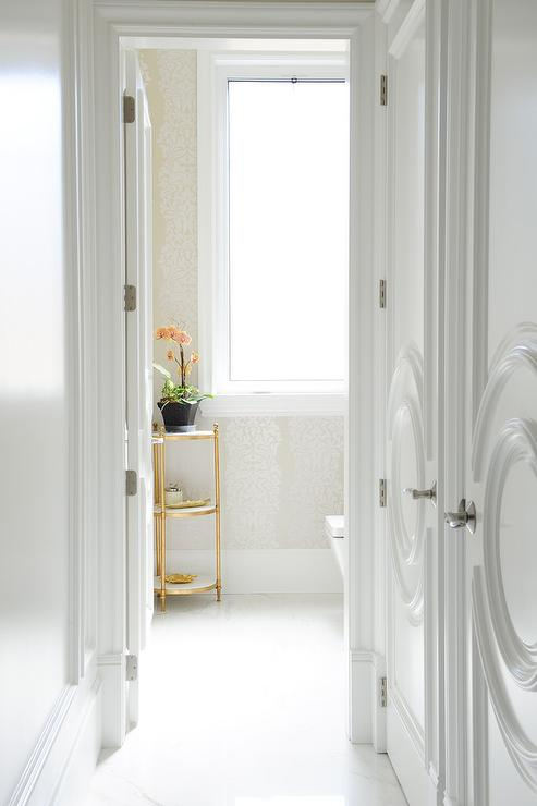 Closet Doors With Circular Panels Transitional Bathroom