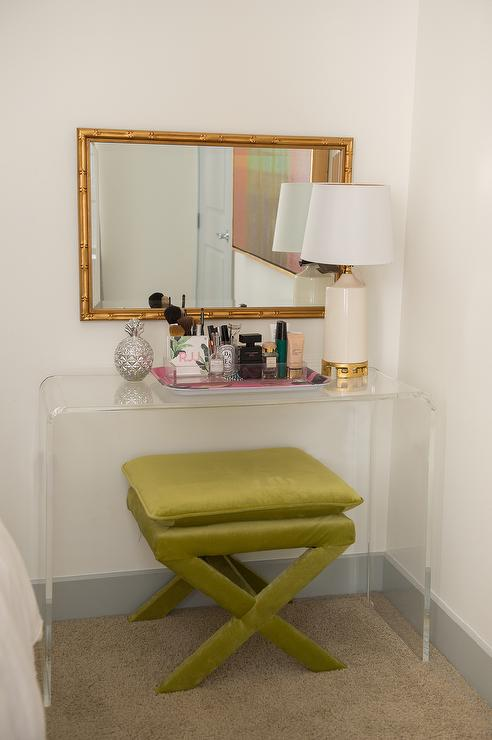 Charmant Clear Acrylic Makeup Vanity With Green X Stool