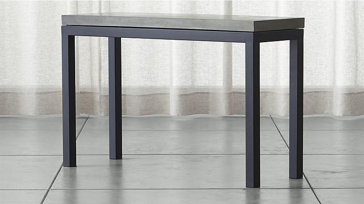 Parsons Black Console Table With Grey Concrete Top