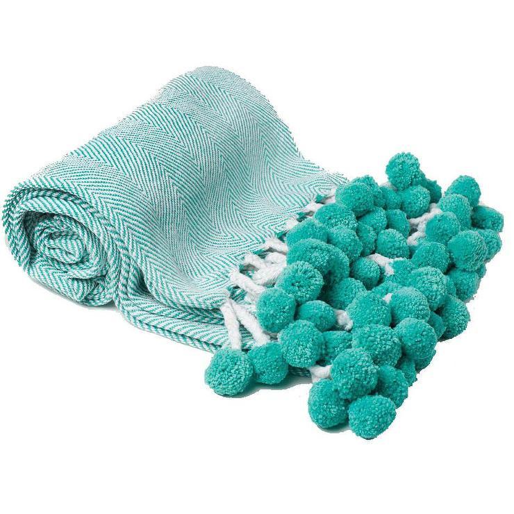 Turquoise Herringbone Pom Pom Throw