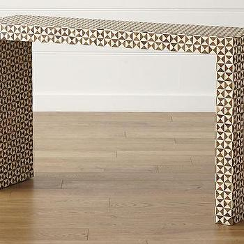 Intarsia Brown And Ivory Console Table