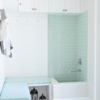Gray And Blue Mudroom With Dog Shower
