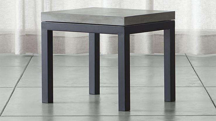 Parsons Black Side Table With Grey Concrete Top