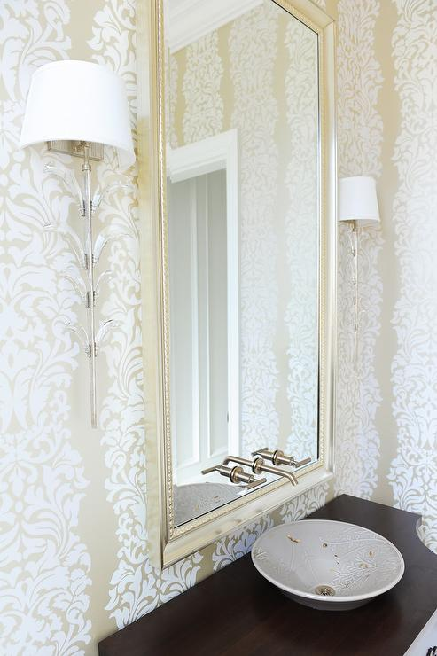 Key Corner Mirror With Glass Sconces Transitional Bathroom