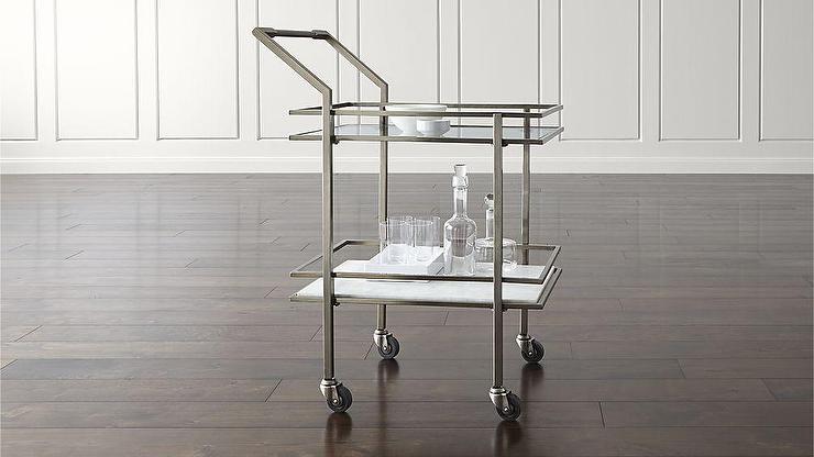Renee Silvery Pewter Bar Cart