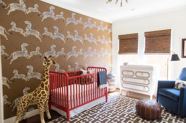 View Full Size Stunning Nursery With Scalamandre Zebra Print Wallpapered Accent