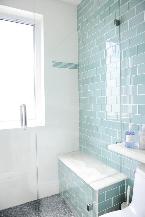Blue Glass Subway Shower Tiles With Gray Mosaic Shower Floor Part 10