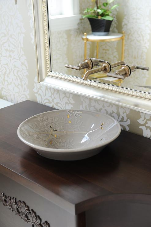 Faucet Mounted On Silver Leaf Beaded Vanity Mirror Transitional - Gold and silver bathroom faucets