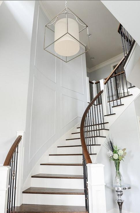 Staircase wainscoting design ideas for Curved staircases