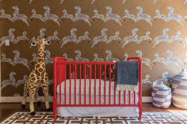 Nursery With Scalamandre Zebras Wallpaper Transitional