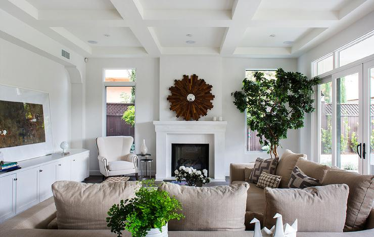 Plush Beige Linen Sectional With Matching Pillows