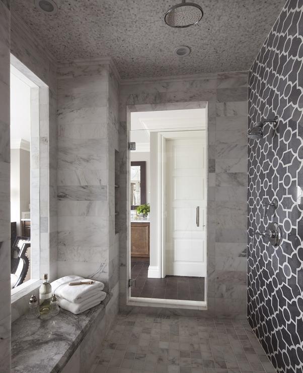 The Girl In The Brick House Help Bathroom Lighting: Gray Trellis Shower Tiles