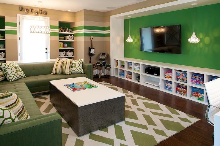 Green Family Room With Low Media Shelving Unit Contemporary