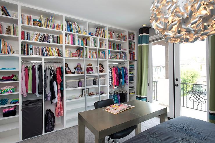 Kids Room With Floor To Ceiling Shelving