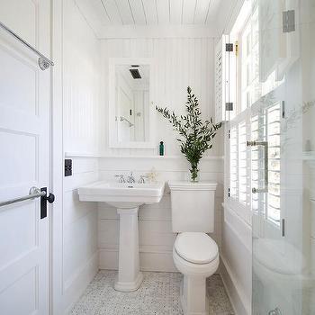 Cottage Bathroom Door With Stacked Towel Bars
