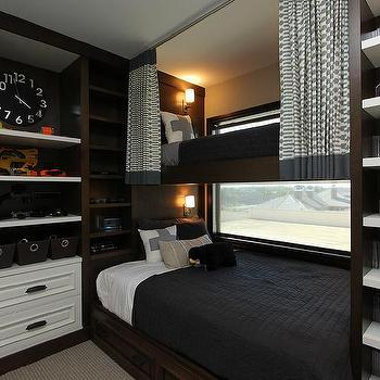 Perfect Kids Bedroom With Built In Shelves Over Bed