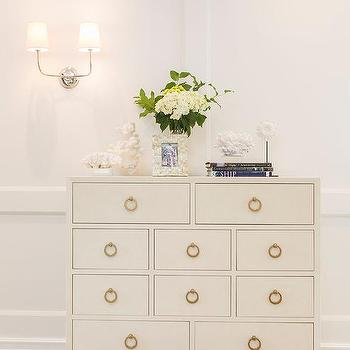 Foyer With White Dresser And Gold Ring Pulls