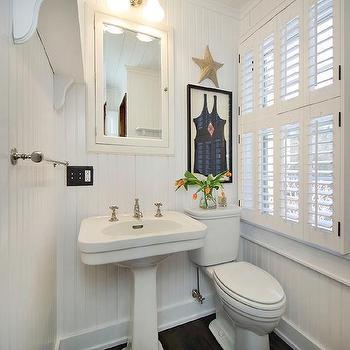Seaside Bathroom with Framed Vintage Swinsuit. Seaside Bathroom Design Ideas