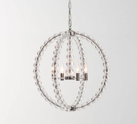 Restoration warehouse danville sphere chandelier look for less pottery barn stacked crystal chandelier view full size aloadofball Gallery