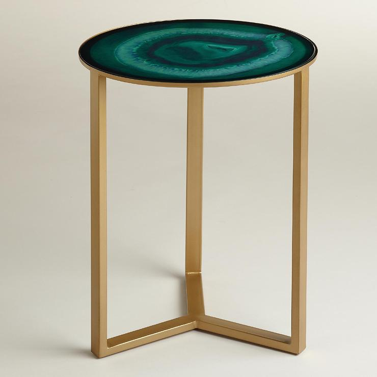 Emerald And Gold Harbin Accent Table
