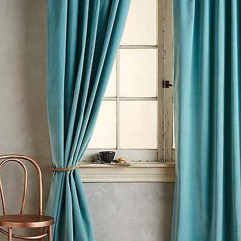 Faux Silk Signature Teal Curtain Panel