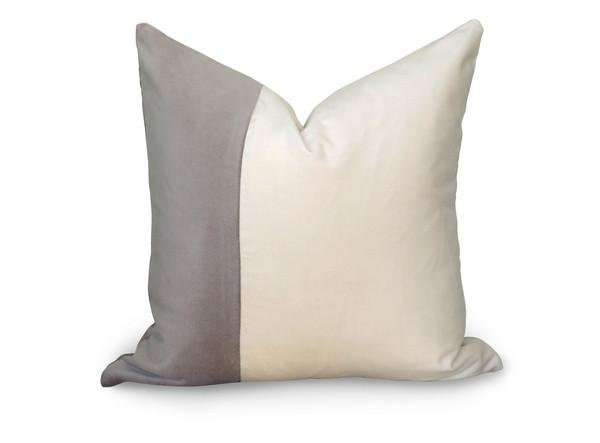 velvet colorblock grey and white pillow cover