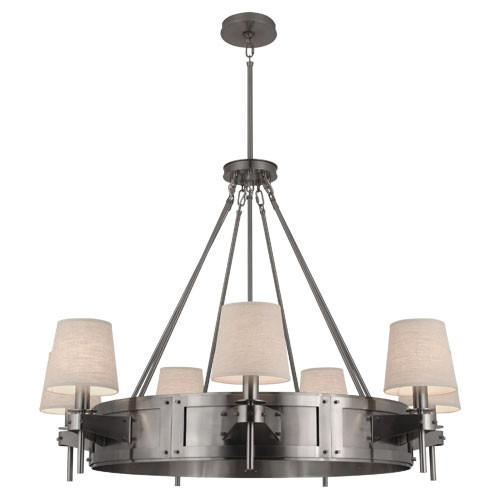 Rico Espinet Caspian Large Dark Antique Nickel Chandelier With Raw Linen  Shade by Robert Abbey - Espinet Caspian Large Dark Antique Nickel Chandelier With Raw