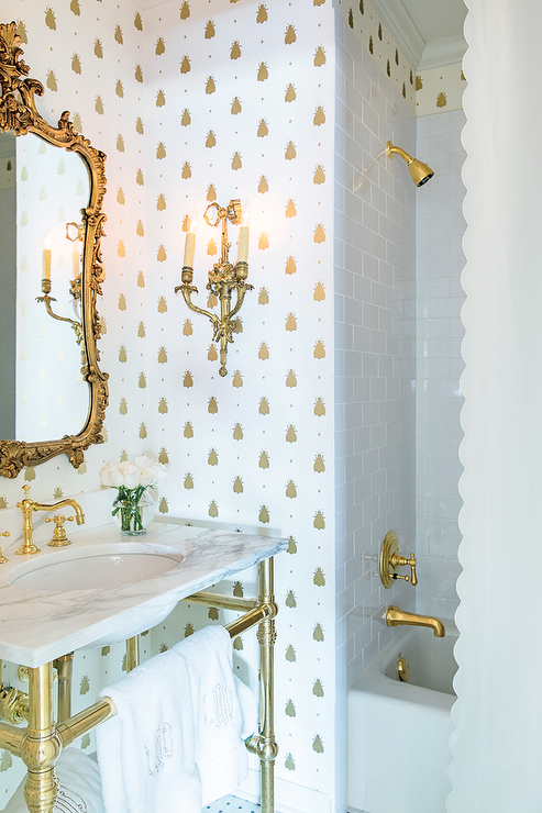White and gold bathroom with barbara barry simple scallop for White and gold bathroom accessories