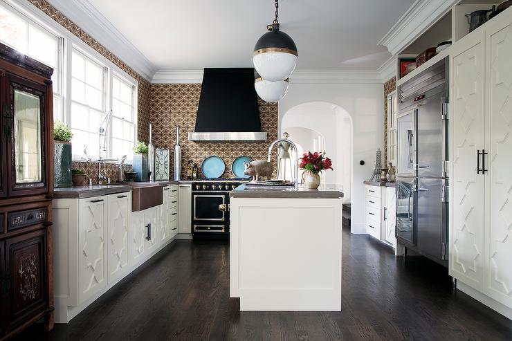 Black French Kitchen Hood With Black Lacanche Range