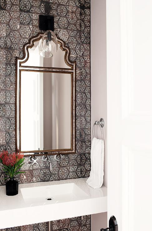 Powder Room With Moroccan Lantern Cottage Bathroom