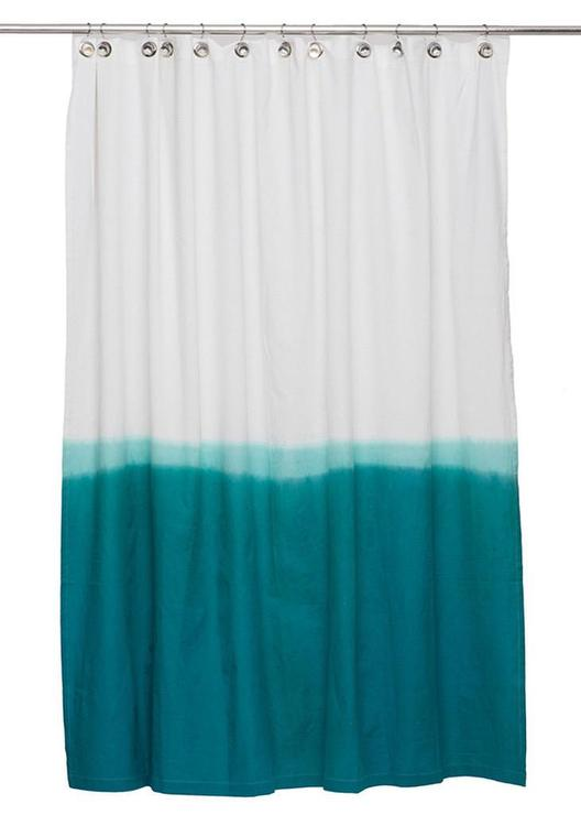 white and navy shower curtain.  Teal Dip Dye Shower Curtain By IGH