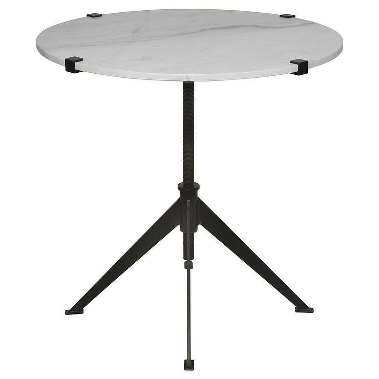 Superior Noir Edith Adjustable Black And White Large Side Table