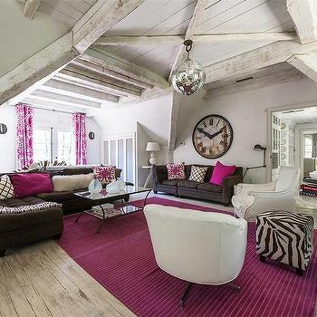 Black And White And Pink Living Room pink and brown living rooms design ideas