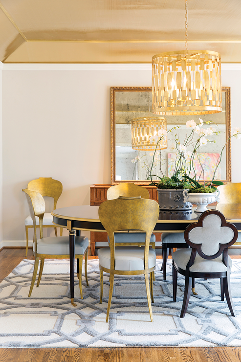 Black And Gold Oval Dining Table With Metal Chairs