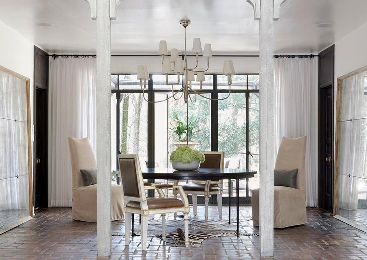 Dining Room With Antiqued Beveled Floor Mirrors