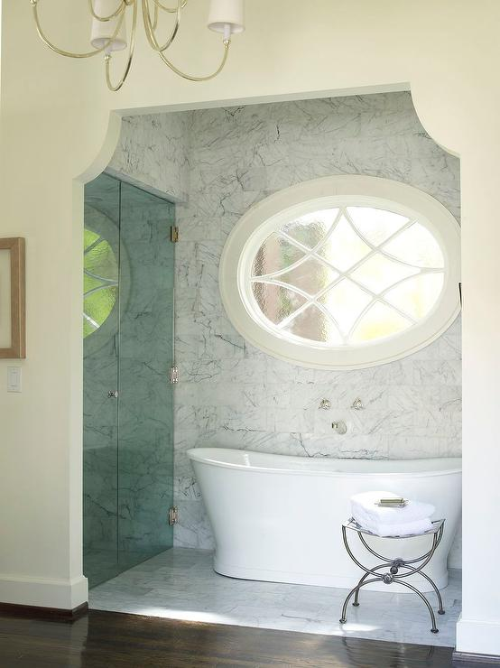 Arched Bathroom Nook With Shower And Tub Transitional Bathroom