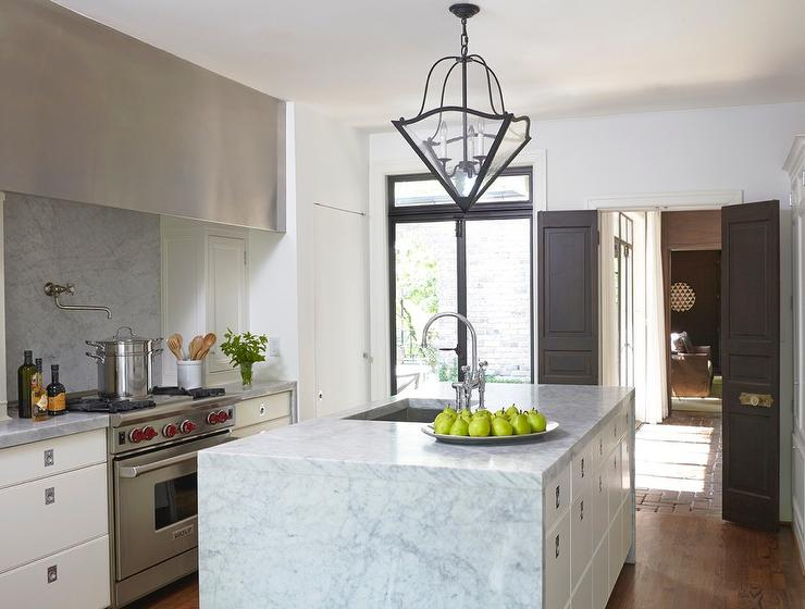 Kitchen cabinets with campaign hardware transitional for Bi fold doors for kitchen cabinets