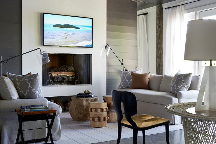 Flatscreen Tv Mounted Over Sleek Fireplace Cottage