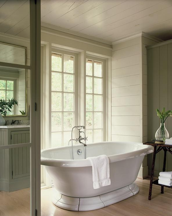 Green And Gray Bathroom Ideas: Cottage Bathroom With Green Gray Shiplap Walls